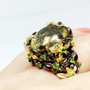 Lemon Quartz Floral ring Silver and gold ring S 8